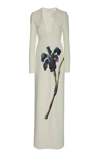 Carolina Herrera Floral-Embellished Crepe Gown in white