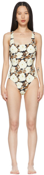 SIR. SIR. Off-White Carlo Square One-Piece Swimsuit in print