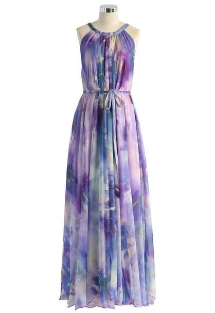 dress floral dress chiffon violet maxi dress slip dress