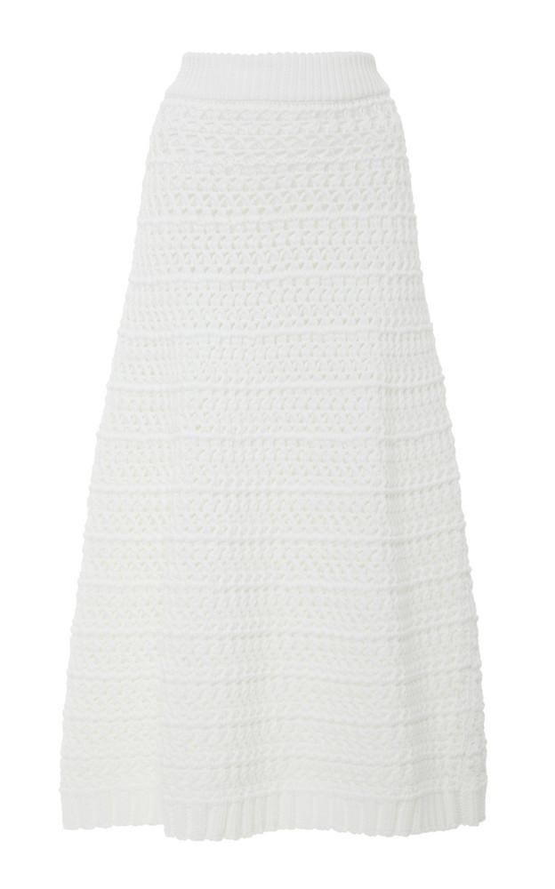 Red Valentino Crochet Stitch Cotton Yarn Skirt in white