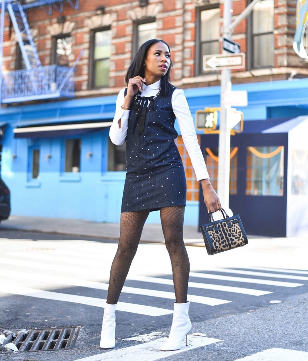 shoes white boots ankle boots heel boots tights handbag leopard print denim dress mini dress white shirt