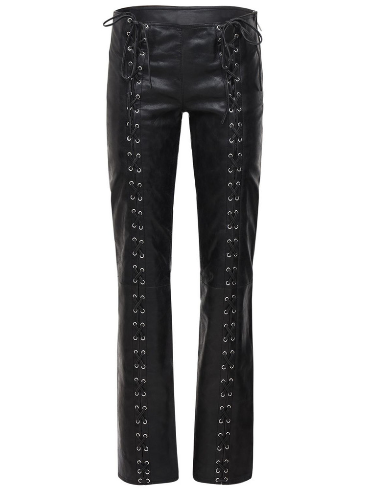 SAKS POTTS Christina Lace-up Leather Pants in black