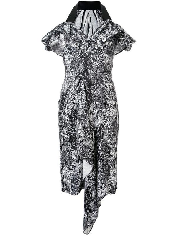 Maticevski graphic-print v-neck dress in black
