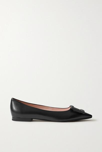 Roger Vivier - Gommettine Buckled Leather Ballet Flats - Black