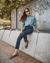 shoes,ballet flats,high waisted jeans,black jeans,grey sweater