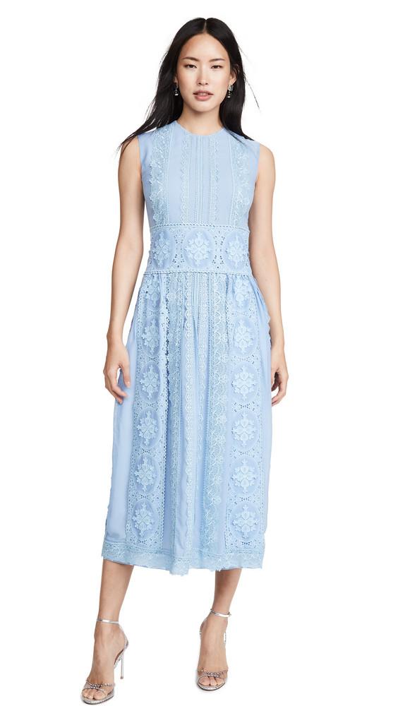 Costarellos Sleeveless Chiffon Dress with Cotton Guipure in blue