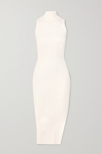Hervé Léger - Ribbed-knit Turtleneck Midi Dress - White