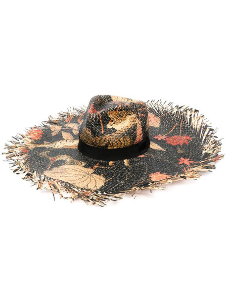 Etro floral woven sun hat in black