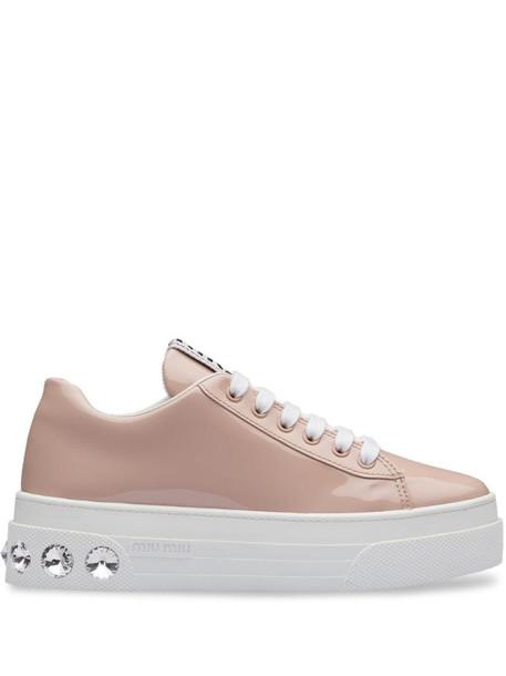 Miu Miu crystal embellished platform sneakers in pink