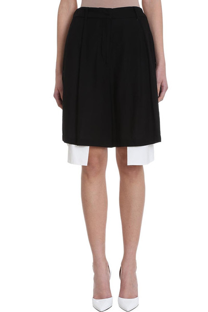 Maison Flaneur Asymmetric White Black Cotton Skirt Short