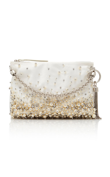 Jimmy Choo Callie Pearl-Embroidered Satin Handbag in ivory