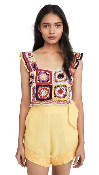 Carolina K Tile Crochet Top in multi