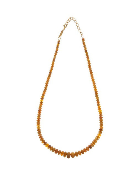Azlee - Opal & 18kt Gold Beaded Necklace - Womens - Brown Multi