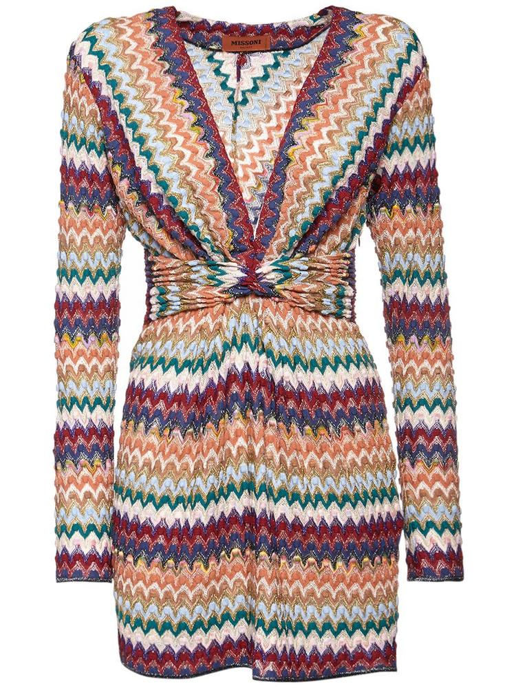 MISSONI Draped Knit Intarsia Lurex Mini Dress