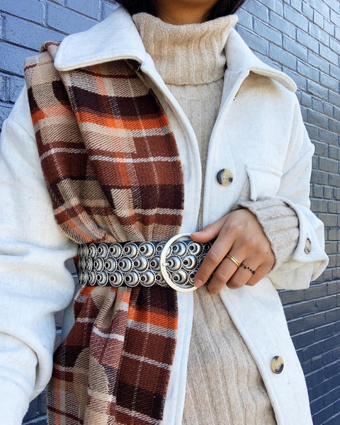 belt scarf sweater jacket