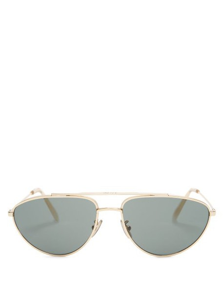Celine Eyewear - Aviator Metal Sunglasses - Womens - Green Gold