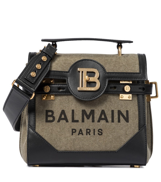 Balmain B-Buzz 23 Small leather-trimmed shoulder bag in green