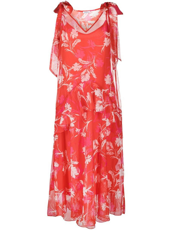 P.A.R.O.S.H. floral-print midi dress in red