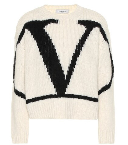 Valentino VLogo alpaca and wool blend sweater in white