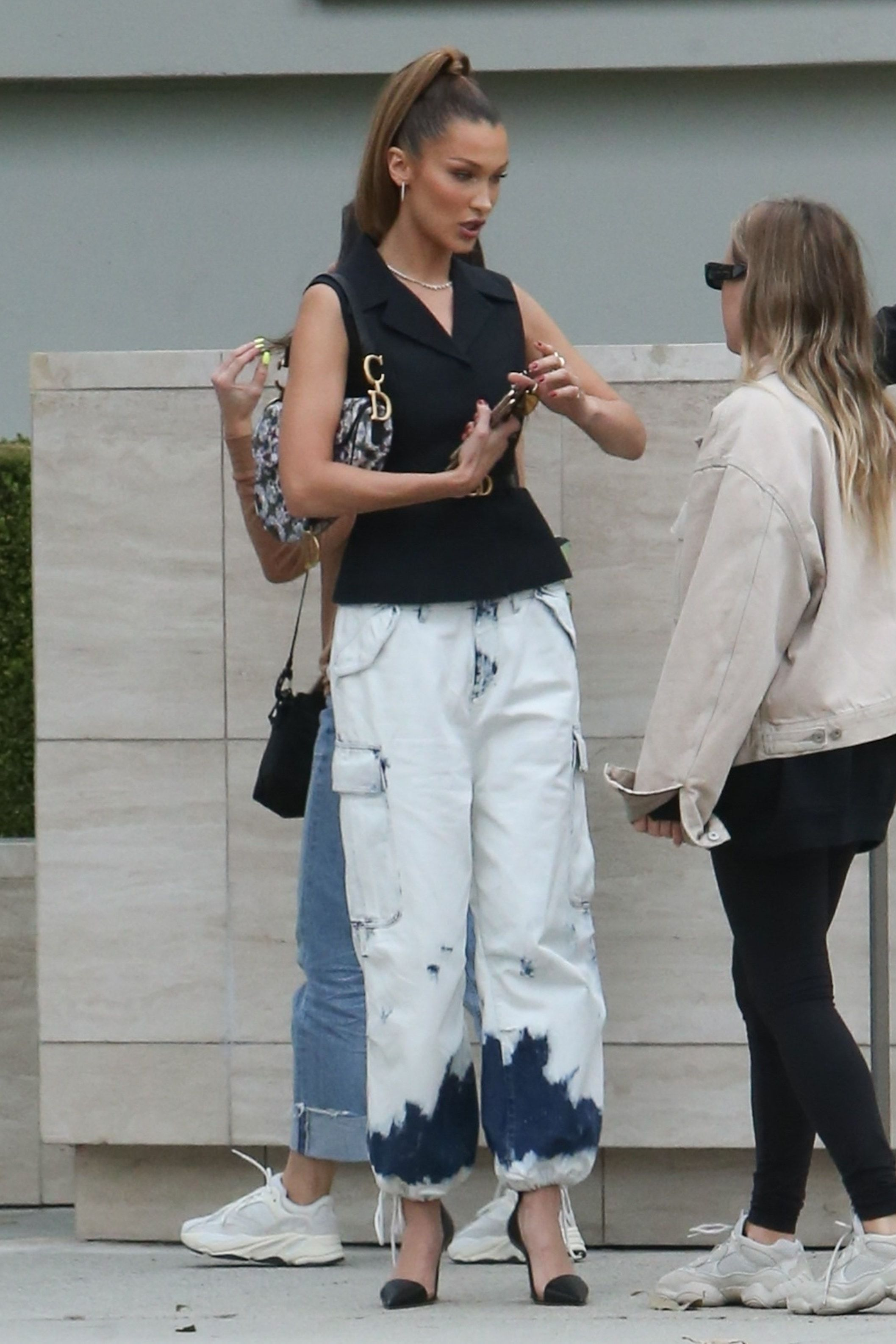 pants vest bella hadid model spring outfits jeans cargo pants