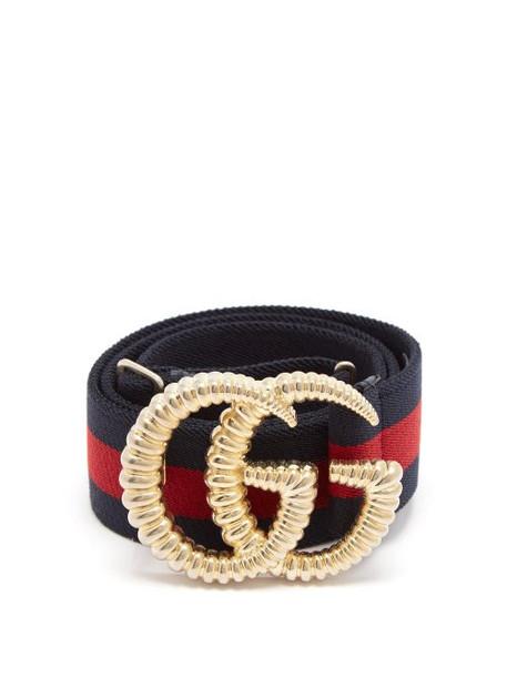 Gucci - Gg Logo 4cm Elasticated Web Stripe Belt - Womens - Navy