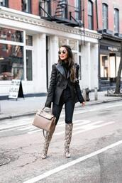 wendy's,lookbook,blogger,jacket,sweater,jeans,bag,shoes,sunglasses,coat,black coat,balmain,knee high boots,snake print,shoulder bag,skinny jeans,high waisted jeans,turtleneck sweater