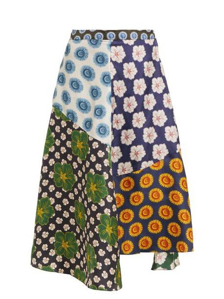Biyan - Miyana Floral Print Silk Skirt - Womens - Navy Multi