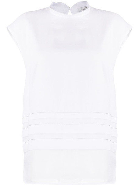Peserico brass-embellished pleated top in white