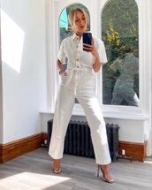 jumpsuit,white jumpsuit,short sleeve,sandal heels