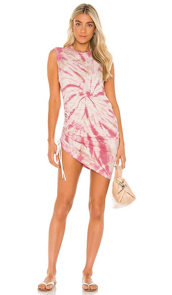 Pam & Gela Tie Dye Sleeveless Ruched Dress in Mauve in taupe / rose