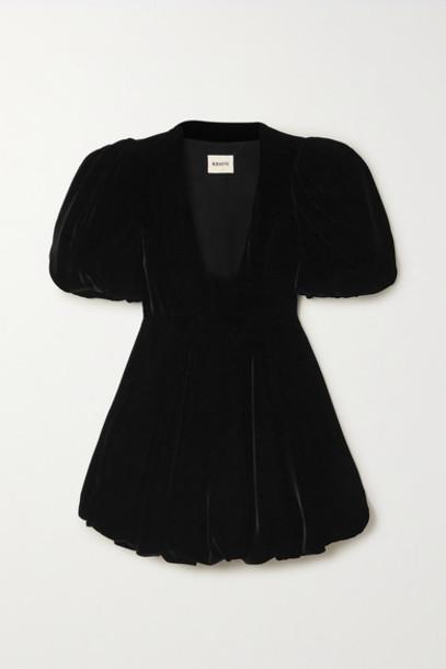 Khaite - Leona Velvet Mini Dress - Black