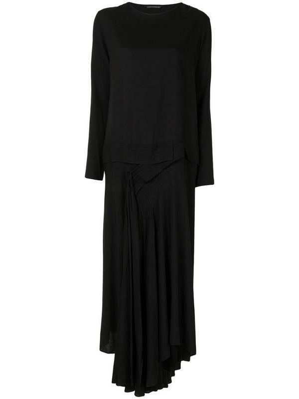 Yohji Yamamoto draped knit dress in black