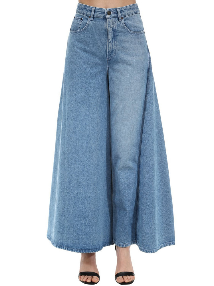 Y PROJECT Cotton Denim Skirt in blue