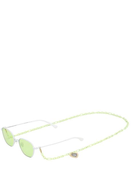 ALESSANDRA RICH Squared Sunglasses W/ Chain in green / white