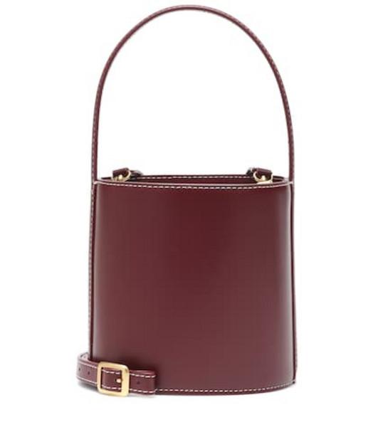 Staud Bissett leather bucket bag in red