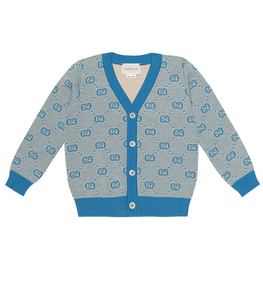 Gucci Kids Baby GG wool and cotton cardigan in blue