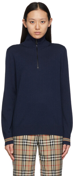 Burberry Wool Icon Stripe Zip-Up Sweater in navy