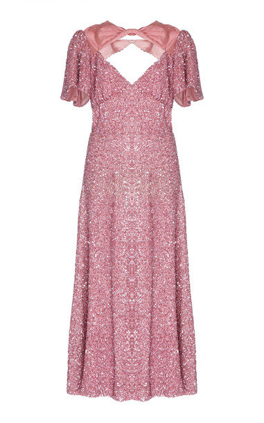 Markarian Ginger Silk Satin-Trimmed Sequined Midi Dress Size: 0 in pink