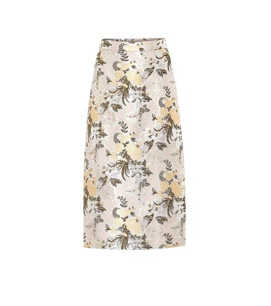 Brock Collection Floral brocade midi skirt in metallic