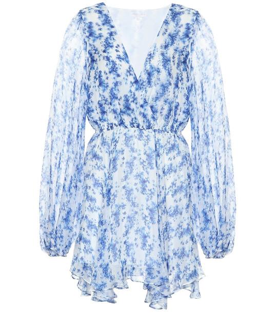 Caroline Constas Olena floral-print silk minidress in blue