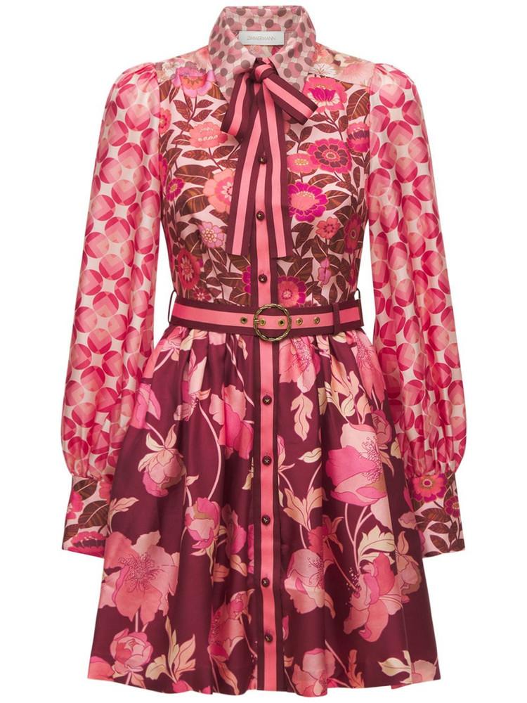 ZIMMERMANN Silk Shirt Mini Dress in pink