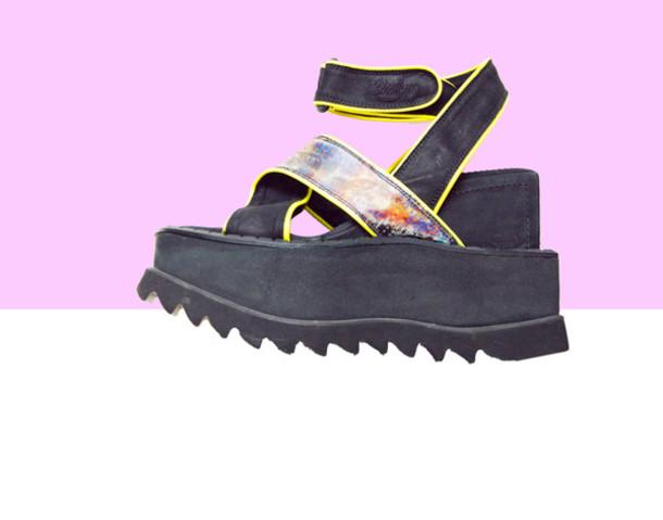 shoes platform shoes club kid 90s style punk goth rave neon platform sandals festival