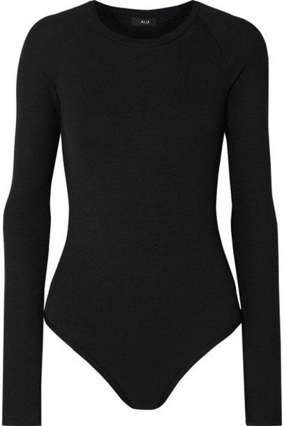 Alix - Colby Ribbed Stretch-modal Jersey Thong Bodysuit - Black