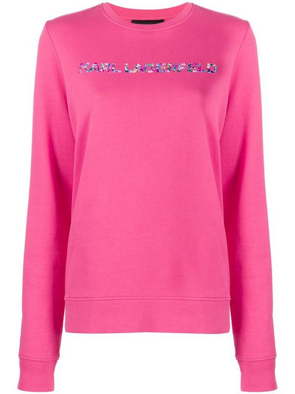 Karl Lagerfeld logo print sweatshirt in pink