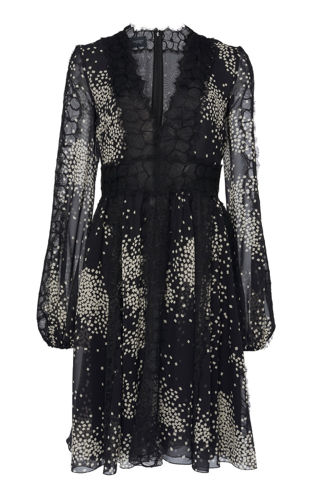 Giambattista Valli Lace-Paneled Printed Silk-Chiffon Dress in print