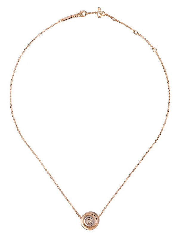 Chopard 18kt rose and white gold diamond Happy Spirit pendant necklace in pink