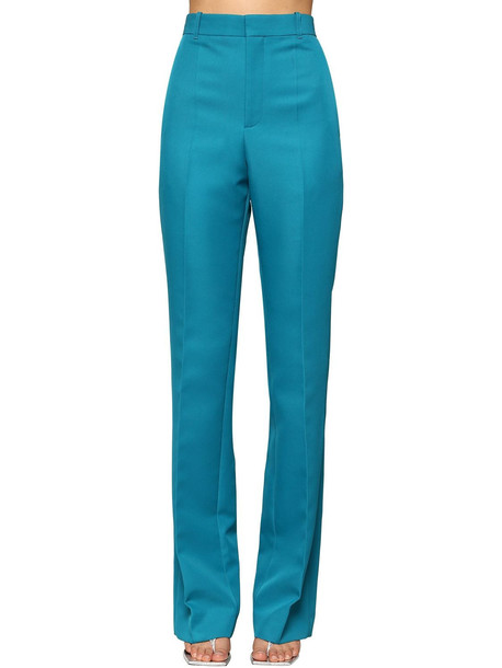 BALENCIAGA High Waisted Straight Leg Twill Pants in petrol