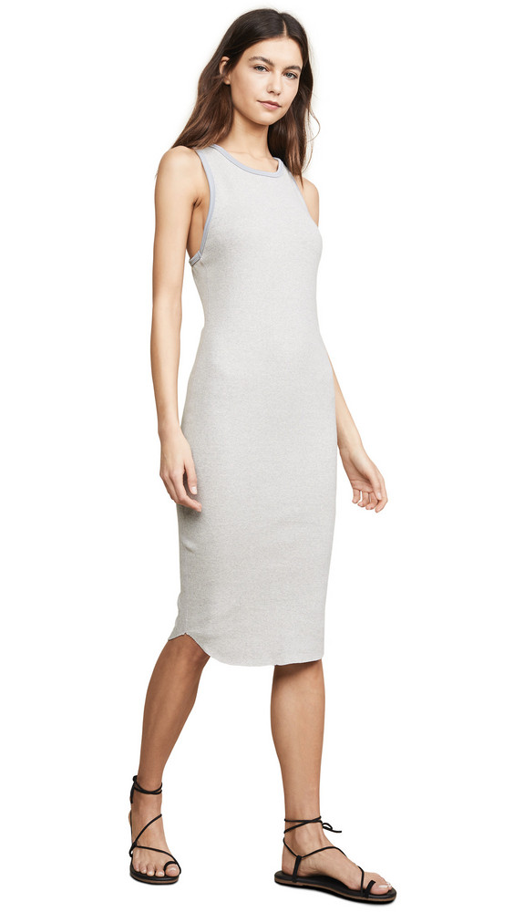 James Perse Sporty Trim Rib Tank Dress in grey