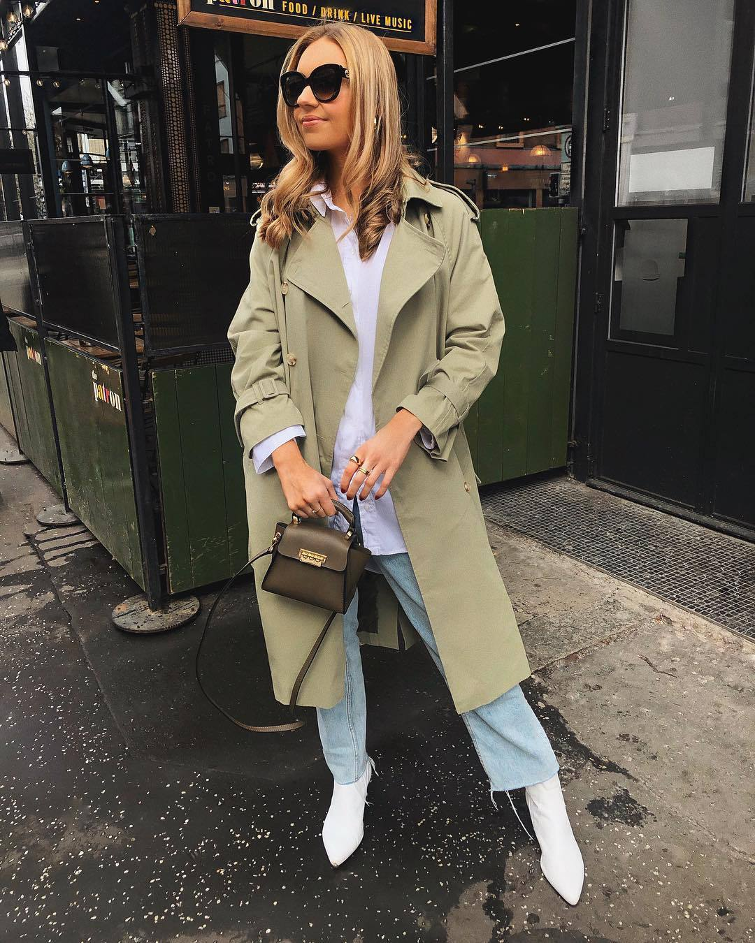 coat trench coat double breasted long coat white boots cropped jeans straight jeans white shirt bag