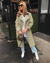 coat,trench coat,double breasted,long coat,white boots,cropped jeans,straight jeans,white shirt,bag